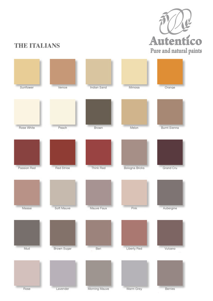 Autentico Paints Colour Chart